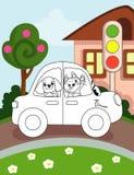 Pagina del libro da colorare per i bambini in età prescolare con l'automobile variopinta di schizzo e del fondo per colorare royalty illustrazione gratis