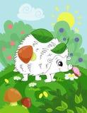 Pagina del libro da colorare per i bambini in età prescolare con l'istrice variopinto di schizzo e del fondo per colorare illustrazione di stock