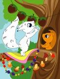 Pagina del libro da colorare per i bambini in età prescolare con lo scoiattolo variopinto di schizzo e del fondo da colorare illustrazione vettoriale