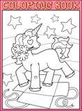 Pagina del libro da colorare Piccolo partito di Unicorn Birthday Fotografia Stock Libera da Diritti