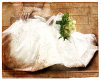 Pagina del libro di Grunge con i turbinii e la sposa Immagine Stock