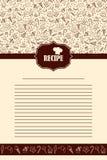 Pagina del libro di ricetta con gli elementi disegnati a mano dei dolci Immagini Stock Libere da Diritti