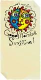Pagina del sole di buongiorno con il sole chiaro Fotografie Stock Libere da Diritti