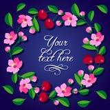 Pagina della ciliegia e dei fiori del ciliegio Fotografie Stock