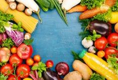 Pagina della frutta variopinta e del fondo delle verdure Immagini Stock Libere da Diritti