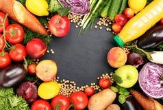 Pagina della frutta variopinta e del fondo delle verdure Fotografia Stock Libera da Diritti