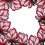 Pagina della magnolia sbocciante su un fondo bianco isolato Posto per testo Decorazione per una festa Fiorisca il blocco per graf royalty illustrazione gratis