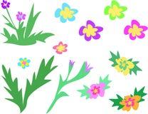 Pagina della miscela dei fiori e dei gambi royalty illustrazione gratis