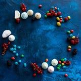Pagina delle bacche, della caramella e delle caramelle gommosa e molle Fotografia Stock Libera da Diritti