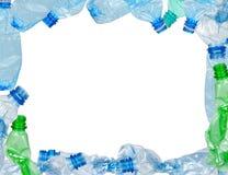 Pagina delle bottiglie di plastica utilizzate Immagine Stock