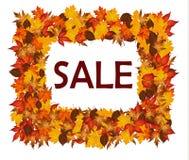 Pagina delle foglie di autunno con la vendita Fotografie Stock