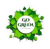 Pagina delle foglie verdi nello stile tagliato di carta Il testo va verde, conservare il pianeta Vettore illustrazione di stock