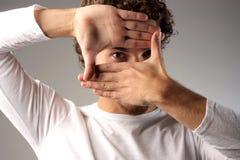 Pagina delle sue mani Immagine Stock