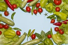 Pagina delle verdure e dei pomodori ciliegia verdi Fotografie Stock