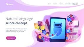 Pagina di atterraggio di concetto di elaborazione del linguaggio naturale royalty illustrazione gratis