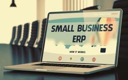 Pagina di atterraggio del computer portatile con il concetto del ERP di piccola impresa 3d Immagine Stock