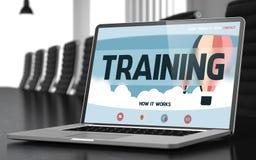 Pagina di atterraggio del computer portatile con il concetto di addestramento 3d Fotografia Stock Libera da Diritti