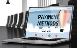 Pagina di atterraggio del computer portatile con il concetto di metodi di pagamento 3d Fotografia Stock Libera da Diritti