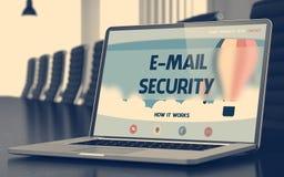 Pagina di atterraggio del computer portatile con il concetto di sicurezza del email 3d Immagine Stock