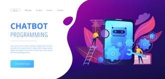 Pagina di atterraggio del developmentconcept del app di Chatbot royalty illustrazione gratis