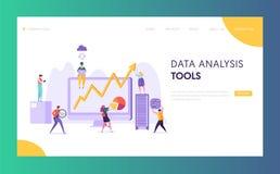 Pagina di atterraggio del software di analisi di dati di gestione Sviluppo di strategia di marketing per il mercato che analizza  illustrazione vettoriale