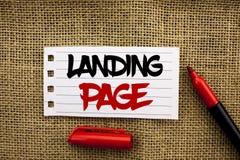 Pagina di atterraggio del testo di scrittura di parola Il concetto di affari per il sito Web ha acceduto a cliccando un collegame Fotografia Stock Libera da Diritti
