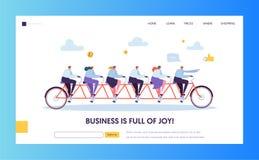Pagina di atterraggio di Pointing Forward Direction dell'uomo d'affari del capo Gruppo sulla bici a seguito del CEO all'obiettivo illustrazione vettoriale