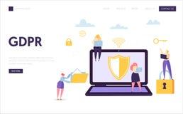 Pagina di atterraggio di sicurezza di Internet di dati di web Protezione di tecnologia di informazioni di Digital GDPR Carattere  royalty illustrazione gratis