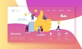 Pagina di atterraggio di successo di affari Riuscito Team Work Concept con i caratteri piani alla ricerca dell'idea creativa webs royalty illustrazione gratis