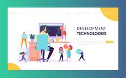 Pagina di atterraggio di tecnologia del carattere degli sviluppatori di software Programmatore di sviluppo Web Work al computer d royalty illustrazione gratis