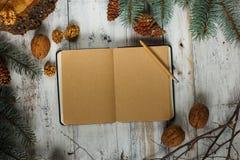 Pagina di carta vuota sopra il fondo d'annata di natale Libro aperto, tè, albero ed urti Fotografie Stock Libere da Diritti