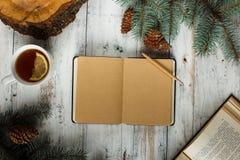 Pagina di carta vuota sopra il fondo d'annata di natale Libro aperto, tè, albero ed urti Immagini Stock