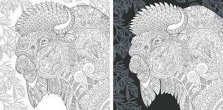 Pagina di coloritura con il bisonte royalty illustrazione gratis