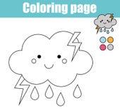Pagina di coloritura con il carattere sveglio della nuvola Il gioco educativo, disegno stampabile scherza l'attività illustrazione di stock