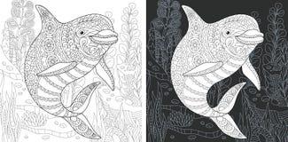 Pagina di coloritura con il delfino illustrazione vettoriale