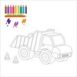 Pagina di coloritura con il grande camion Immagini Stock