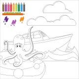 Pagina di coloritura con il polipo nel mare Fotografia Stock