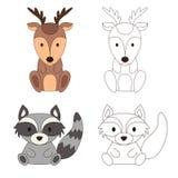 Pagina di coloritura con l'animale Cervi e procione selvaggi a colori ed il profilo Illustrazione di vettore Fotografie Stock