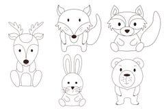 Pagina di coloritura con l'animale Cervi e procione selvaggi, scanalatura, orso, volpe nel profilo Illustrazione di vettore Fotografia Stock Libera da Diritti
