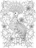 Pagina di coloritura con l'uccello in fiori, uccello di illustartion dello zentangle illustrazione vettoriale