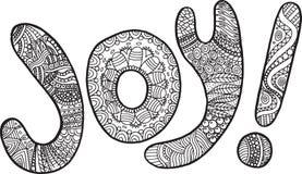Pagina di coloritura con la parola di gioia illustrazione vettoriale