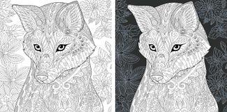 Pagina di coloritura con la volpe illustrazione vettoriale