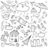 Pagina di coloritura con le icone di autunno Fotografia Stock Libera da Diritti