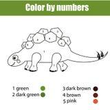 Pagina di coloritura con lo stegosauro del dinosauro Il colore dal gioco educativo dei bambini di numeri, pareggiante scherza l'a Immagini Stock Libere da Diritti