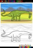 Pagina di coloritura del dinosauro del diplodocus del fumetto Fotografia Stock