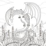 Pagina di coloritura del drago di mistero Immagini Stock Libere da Diritti