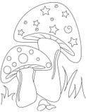 Pagina di coloritura del fungo Fotografia Stock Libera da Diritti