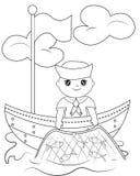 Pagina di coloritura del marinaio illustrazione di stock