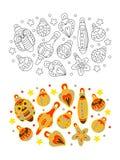 Pagina di coloritura del ` s dei bambini Sfere di natale immagine stock