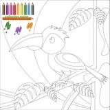 Pagina di coloritura dell'uccello sull'albero per i bambini Fotografia Stock Libera da Diritti
